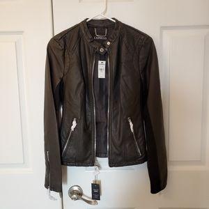 NWT Black Express faux leather moto jacket